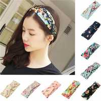 Elastic Headbrand Women Flower Hair Band Twisted Knotted Yoga Head Wrap