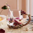 Meilleur prix Enamel Glass Rose Flower Tea Cup Set Spoon Coffee Cup Cold Drinks Mug