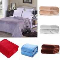 100x150cm Coral Fleece Blanket Sofa Bed Bedding Warm Soft Quilt