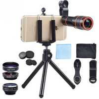 Apexel APL-HS12XDG3 6 in 1 Universal 12X Zoom Telescope Fisheye Wide Angle Macro with Tripod