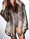 Acheter Faux Fur Animals Ear Hooded Long Warm Coats