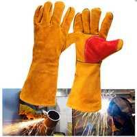 16inch Heavy Duty Lined Reinforced Palm Welding Gauntlets Welder Labor Gloves
