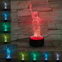 Statue of Liberty USB Battery 3D LED Lights Colorful Touch Control Night Light Gift