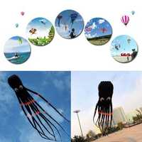 3D 26ft 8m Single Line Black Octopus POWER Sport Huge Soft Kite Outdoor Toy
