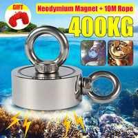 Double Side 75mm 400KG Neodymium Recovery Magnet With 10m Rope Salvage Tool Strong Recovery Fishing Kits