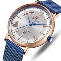 NAVIFORCE 3006 Mesh Steel Band Calendar Quartz Watch