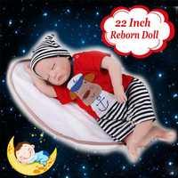Silicone 22inch Reborn Dolls Baby Lifelike Baby Newborn Doll Handmade Gift