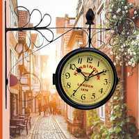 Vintage Retro Creative Mediterranean Style Double Wall Clock Decor Home