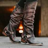 Women Retro Zipper Ring Belt Buckle Motorcycle Boots
