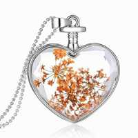 Sweet Natural Dried Flower Inside Necklace Crystal Heart