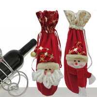 36cm Christmas Xmas Wine Bottle Cover Bag Snowman Santa Clau