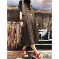 Women Loose Sleeveless Vest Retro Pocket Split Hoodie Dress