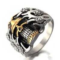 Men's Titanium Steel Ring Vintage Skull Head Punk Finger Ring for Men