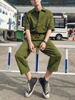 Meilleurs prix Men Solid Color Chest Pocket Drawstring Half Sleeve Rompers Pants