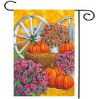 Best Price 28'' x 40'' Pumpkin Wagon Wheel Fall Autumn Decorative House Flag Large Banner Decorations