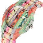 Bon prix Deffrun Bamboo Colorful Couple Watch Unique Design Wooden Qu