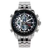 SKMEI 0993 Waterproof Stainless Steel Dual Digital Watch