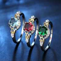 Fashion Finger Rings Double Heart Colorful Micro Zircon Ring