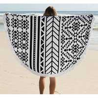 150cm Pure Cotton Bohemia Roud Tassel Knitted Beach Towel Lantern Towel Home Blanket