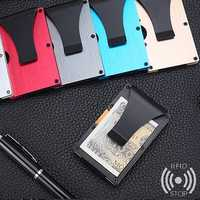Men Women Carbon Fiber Slim Wallet Credit Card Holder RFID Blocking Anti Scan Metal Cash Clip