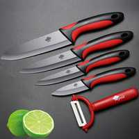 MYVIT Ceramic Knife Kitchen Knives 3 4 5 6 inch + Peeler Black Blade Paring Fruit Vegetable Chef Utility Knife Cooking Tools Set
