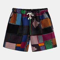 Mens Summer Beach Cotton Printed Drawstring Casual Shorts
