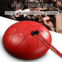12 Inch 8 Notes Steel Tongue Percussion Drums Handpan Instrument with Drum Mallets and Bags