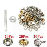 20Set Stainless Steel 5/8 Inch Boat Cover Canopy Fittings Fastener Snap Kit with Tools