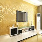 Meilleur prix 10mx53cm Wallpaper Rolls Silver Golden Apricot Luxury Embossed Patten Textured Home Wall Decor