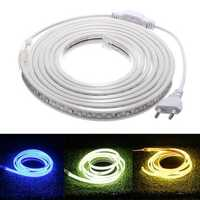 AC220V 3M Waterproof SMD5730 5630 Flexible LED Strip Tape Rope Light EU Plug for Home Decoration