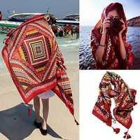 Honana WX-18 100x180cm Bohemian Linen Beach Mat National Style Woman Scarf Bed Sheet Tapestry