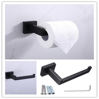 Bathroom Washroom Black Stainless Square Toilet Paper Shelf Roll Holder Rack Hook