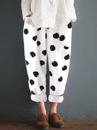 Women Cotton Polka Dot Elastic Waist Pockets Pants