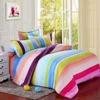 Polyester Colorful Stripes Single Queen King Reactive Bedding Set Bed Sheet Duvet Cover Pillowcase