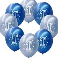 10 Pcs Per Set Blue Boy's 1st Birthday Printed Inflatable Pearlised Balloons Christmas Decoration