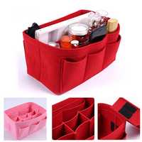 11 Grids Multi-functional Women Cosmetic Bag Felt Cloth Makeup Handbag Organizer Holder With Insert Bag Portable Travel Storage Bag