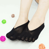 Women Ultra Thin Mesh Hole Five Toe Sock Solid Color Anti Skid Invisibility Boat Socks