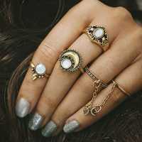 Women's 5 Pcs Vintage Ring Set Gold Silver Moon Opal Gem