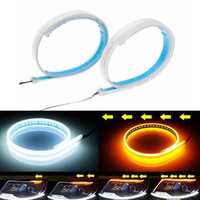 2Pcs 30/45/60CM Soft Switchback Sequential Signa Lamp Headlight Kit LED Strip DRL Light