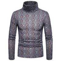 Men Colorful Geometric Patterns High Collar Pullovers