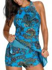 Recommandé Padded Printed Strappy Sleeveless Halter One Pieces Swimwear