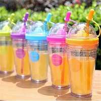 Multi-color Fruit Infusing Water Bottle Lovely Sport Juice Tumbler Bottle Tea Cup with Straw
