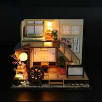 DIY Dollhouse Miniature Wooden Furniture LED Kit Japanese Style Handcraft Toy Doll House Gift