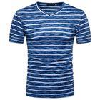 Promotion Men's Casual Stripe Colorblock V-Neck Short Sleeve T-Shirts