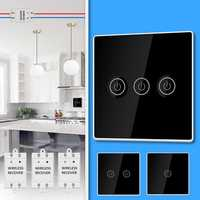 KCASA 1/2/3 Gang AC200-240V Wireless Panel Touch Switch with 3PCS Receiver Kit Remote Control Smart Home Control Module