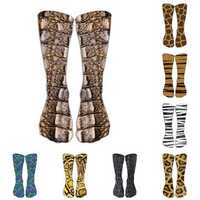 1 Pair 3D Animals Print Sock Adult 40cm Crew Long Socks Soft Casual Cute Cotton Socks Cosplay Tube Socks