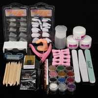 Acrylic Powder Nail Art Set Pink False Nail Art Cutter Liquid Pump Dispenser Sanding File