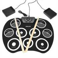 Portable Electronic Roll Up Drum Set Kit 9 Silicon Pad for Beginner