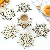 Wood Coaster Kitchen Christmas Placemat Table Mat Decorations For Home Cup Drink Mug Tea Coffee Snowflake Pad Drink
