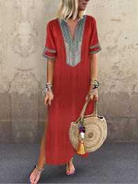 Vintage Women Folk Style V-Neck Short Sleeve Dress
